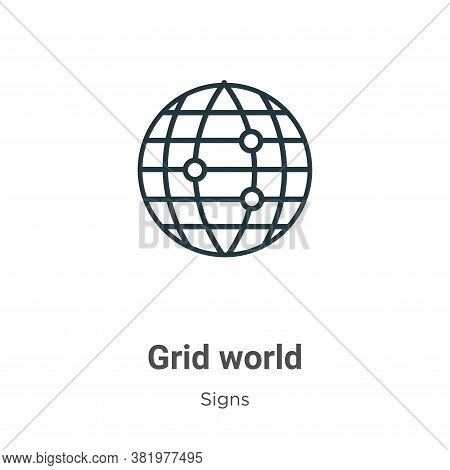 Grid world icon isolated on white background from signs collection. Grid world icon trendy and moder