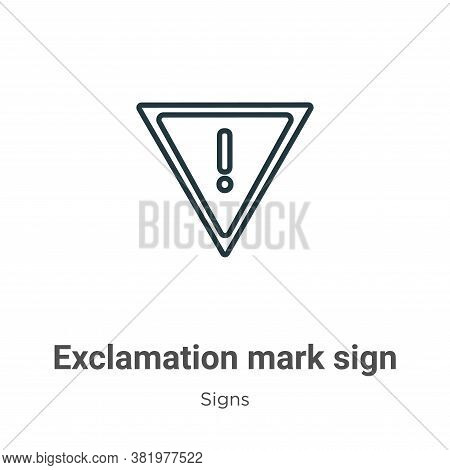 Exclamation mark sign icon isolated on white background from signs collection. Exclamation mark sign