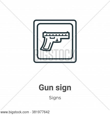 Gun sign icon isolated on white background from signs collection. Gun sign icon trendy and modern Gu