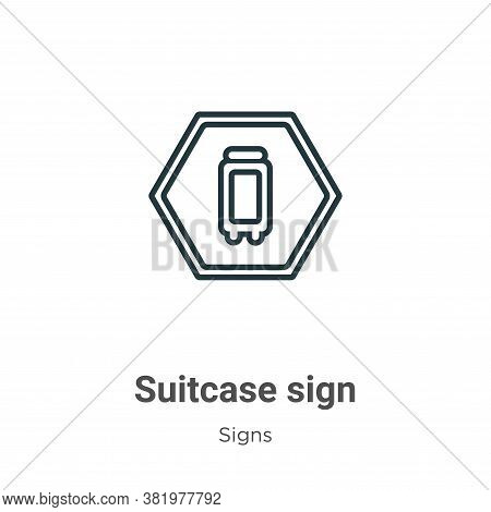 Suitcase sign icon isolated on white background from signs collection. Suitcase sign icon trendy and