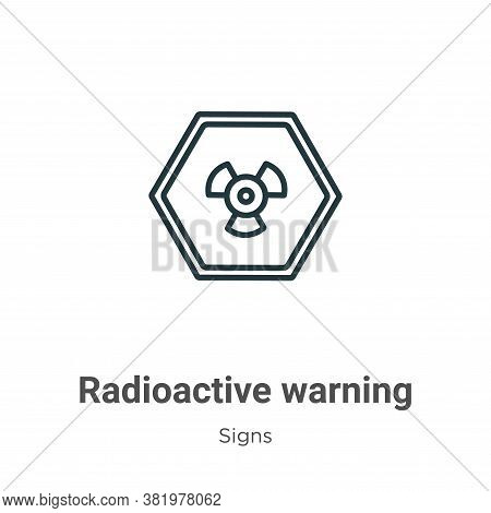 Radioactive warning icon isolated on white background from signs collection. Radioactive warning ico