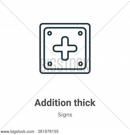 Addition thick icon isolated on white background from signs collection. Addition thick icon trendy a