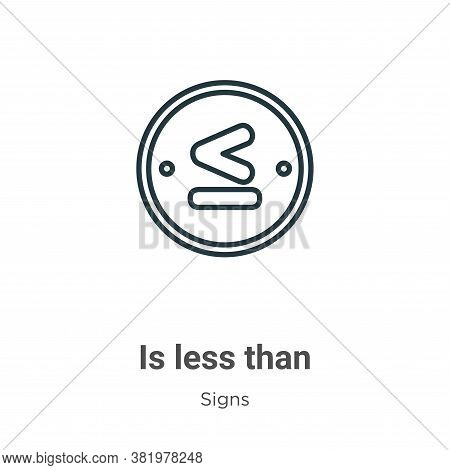 Is less than icon isolated on white background from signs collection. Is less than icon trendy and m