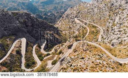Road To Sa Calobra In Serra De Tramuntana - Mountains In Mallorca, Spain. High Quality Photo
