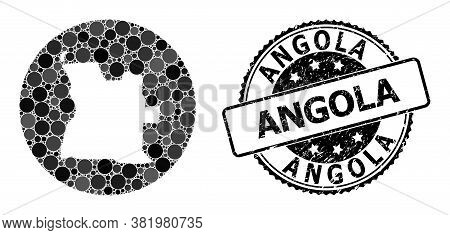 Vector Mosaic Map Of Angola Of Round Dots, And Gray Grunge Seal. Stencil Round Map Of Angola Collage