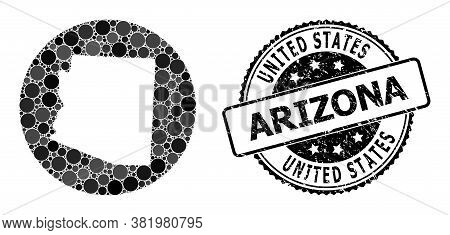 Vector Mosaic Map Of Arizona State With Spheric Blots, And Gray Rubber Stamp. Stencil Round Map Of A