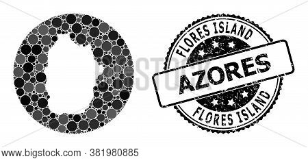 Vector Mosaic Map Of Azores - Flores Island With Round Spots, And Gray Grunge Seal Stamp. Stencil Ci