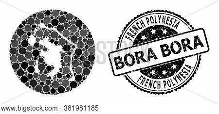 Vector Mosaic Map Of Bora-bora With Circle Items, And Grey Watermark Stamp. Hole Circle Map Of Bora-