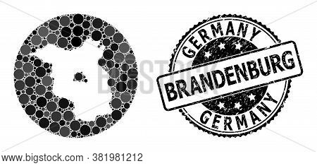 Vector Mosaic Map Of Brandenburg State Of Round Blots, And Gray Grunge Seal. Stencil Round Map Of Br
