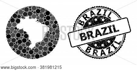 Vector Mosaic Map Of Brazil With Circle Elements, And Grey Grunge Stamp. Subtraction Round Map Of Br