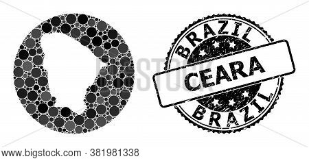 Vector Mosaic Map Of Ceara State With Circle Items, And Gray Watermark Stamp. Hole Round Map Of Cear