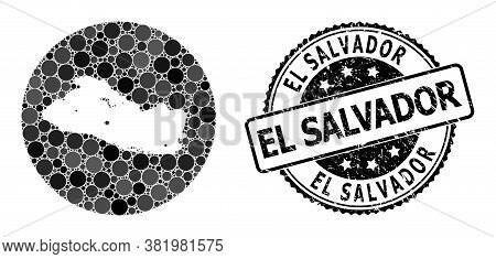 Vector Mosaic Map Of El Salvador With Round Spots, And Gray Watermark Stamp. Hole Round Map Of El Sa