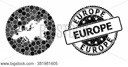 Vector Mosaic Map Of Europe With Round Elements, And Grey Rubber Seal. Subtraction Round Map Of Euro