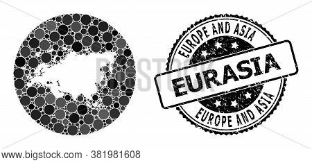 Vector Mosaic Map Of Europe And Asia From Circle Blots, And Gray Grunge Stamp. Subtraction Circle Ma
