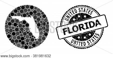Vector Mosaic Map Of Florida State With Spheric Spots, And Grey Scratched Seal. Hole Round Map Of Fl