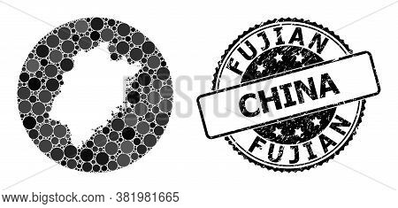 Vector Mosaic Map Of Fujian Province With Circle Elements, And Grey Grunge Seal Stamp. Stencil Circl