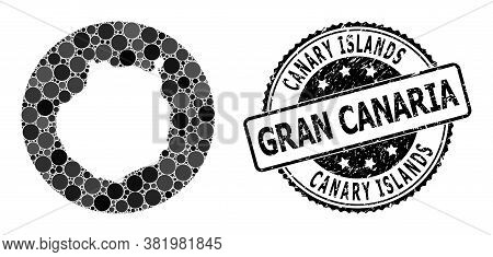 Vector Mosaic Map Of Gran Canaria With Circle Elements, And Grey Scratched Seal. Stencil Round Map O