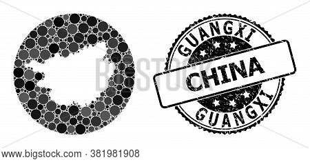 Vector Mosaic Map Of Guangxi Province Of Round Elements, And Grey Rubber Stamp. Subtraction Round Ma