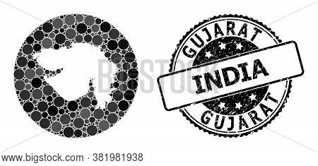 Vector Mosaic Map Of Gujarat State Of Circle Dots, And Gray Scratched Seal Stamp. Subtraction Circle