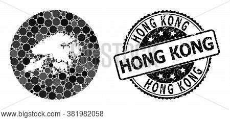 Vector Mosaic Map Of Hong Kong With Circle Dots, And Grey Grunge Stamp. Hole Circle Map Of Hong Kong