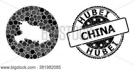 Vector Mosaic Map Of Hubei Province With Circle Spots, And Grey Rubber Stamp. Stencil Round Map Of H