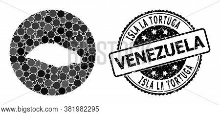 Vector Mosaic Map Of Isla La Tortuga Of Round Elements, And Gray Rubber Seal Stamp. Hole Circle Map