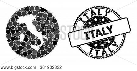 Vector Mosaic Map Of Italy With Round Items, And Grey Scratched Seal. Subtraction Round Map Of Italy