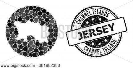 Vector Mosaic Map Of Jersey Island Of Round Elements, And Gray Rubber Seal. Hole Round Map Of Jersey