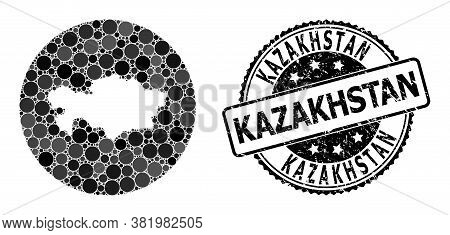 Vector Mosaic Map Of Kazakhstan From Spheric Dots, And Gray Watermark Seal Stamp. Hole Round Map Of