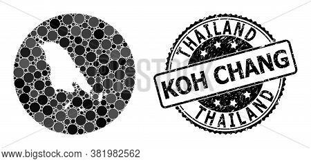 Vector Mosaic Map Of Koh Chang Of Circle Dots, And Gray Rubber Seal. Subtraction Round Map Of Koh Ch