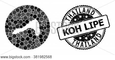 Vector Mosaic Map Of Koh Lipe From Circle Blots, And Grey Watermark Seal Stamp. Hole Circle Map Of K