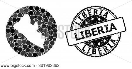 Vector Mosaic Map Of Liberia With Round Elements, And Gray Rubber Stamp. Hole Circle Map Of Liberia