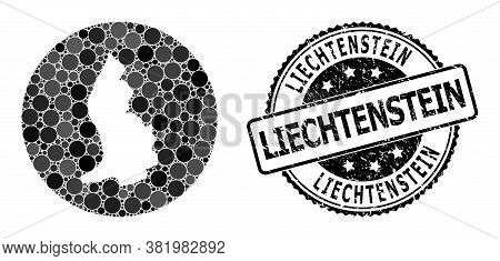 Vector Mosaic Map Of Liechtenstein With Spheric Dots, And Grey Rubber Seal Stamp. Stencil Round Map