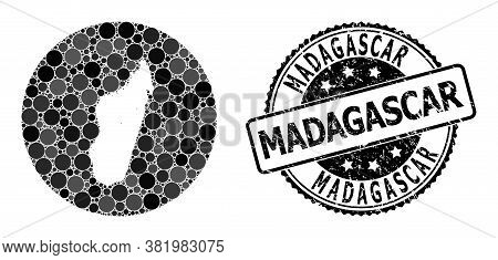 Vector Mosaic Map Of Madagascar Island With Spheric Dots, And Gray Scratched Seal Stamp. Subtraction