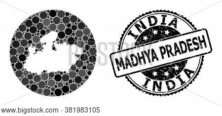 Vector Mosaic Map Of Madhya Pradesh State From Circle Spots, And Grey Rubber Stamp. Subtraction Circ