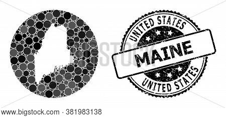 Vector Mosaic Map Of Maine State From Round Elements, And Gray Rubber Stamp. Stencil Round Map Of Ma