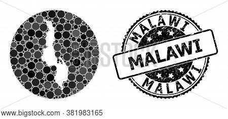 Vector Mosaic Map Of Malawi With Circle Blots, And Grey Rubber Seal Stamp. Subtraction Circle Map Of
