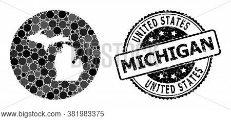 Vector Mosaic Map Of Michigan State With Round Blots, And Gray Watermark Stamp. Stencil Round Map Of