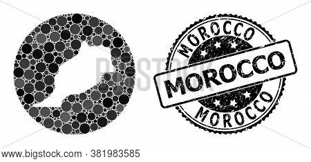 Vector Mosaic Map Of Morocco With Circle Items, And Grey Grunge Stamp. Stencil Circle Map Of Morocco