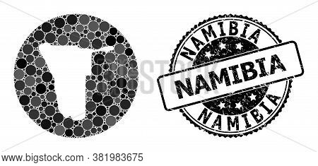 Vector Mosaic Map Of Namibia With Circle Elements, And Gray Grunge Seal Stamp. Subtraction Round Map