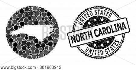 Vector Mosaic Map Of North Carolina State With Round Dots, And Grey Grunge Seal Stamp. Subtraction C