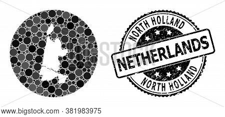 Vector Mosaic Map Of North Holland With Circle Dots, And Grey Scratched Seal Stamp. Hole Circle Map