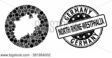 Vector Mosaic Map Of North Rhine-westphalia State With Round Blots, And Gray Watermark Seal Stamp. S