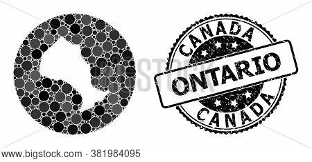 Vector Mosaic Map Of Ontario Province With Round Items, And Gray Rubber Seal Stamp. Hole Circle Map