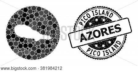Vector Mosaic Map Of Pico Island Of Circle Spots, And Gray Grunge Stamp. Stencil Circle Map Of Pico