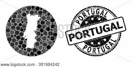 Vector Mosaic Map Of Portugal With Spheric Dots, And Gray Rubber Stamp. Hole Round Map Of Portugal C