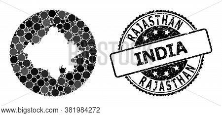 Vector Mosaic Map Of Rajasthan State Of Circle Blots, And Gray Watermark Seal. Hole Circle Map Of Ra