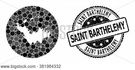 Vector Mosaic Map Of Saint Barthelemy With Spheric Blots, And Grey Watermark Stamp. Hole Round Map O