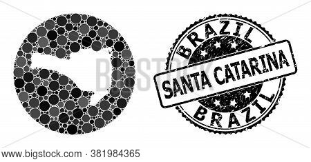Vector Mosaic Map Of Santa Catarina State Of Round Blots, And Gray Rubber Stamp. Subtraction Round M