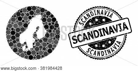 Vector Mosaic Map Of Scandinavia Of Circle Elements, And Gray Rubber Stamp. Hole Circle Map Of Scand